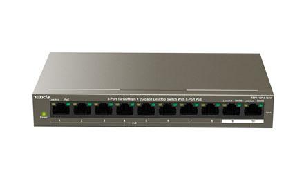Conmutador de sobremesa de 8 puertos de 10/100 Mbps y 2 puertos Gigabit con 8 puertos PoE - Tenda - TEF1118P-16-150W v2.0