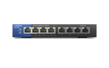 Switch Gigabit PoE de escritorio para empresas de 8 puertos Linksys LGS108P
