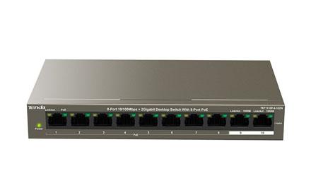Conmutador de sobremesa de 8 puertos de 10/100 Mbps y 2 puertos Gigabit con 8 puertos PoE - Tenda - TEF1110P-8-102W