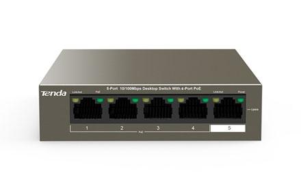 Switch de escritorio de 5 puertos a 10/100 Mbps con PoE de 4 puertos - Tenda - TEF1105P-4-63W